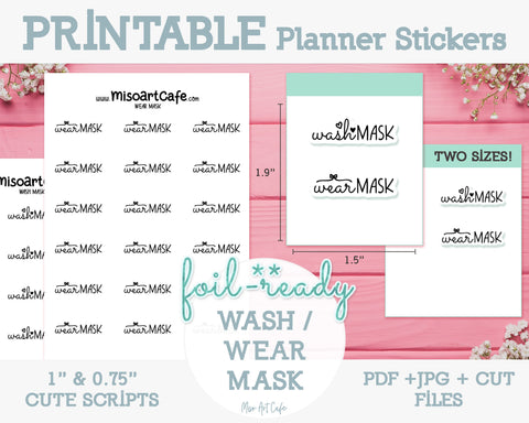 Printable Wash / Wear Mask Foil-Ready Scripts - Typography Planner Stickers