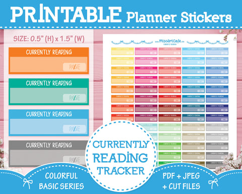 Printable Currently Reading - Colorful Basic Planner Stickers