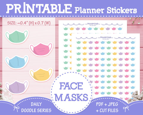 Printable Face Mask Doodles - Hand Drawn Planner Stickers