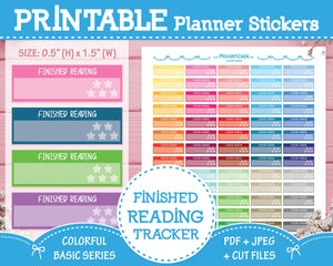 Printable Finished Reading - Colorful Basic Planner Stickers