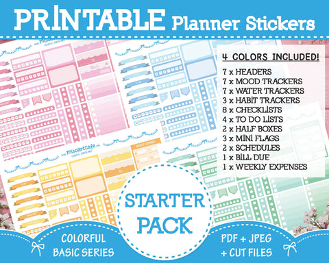 Printable Starter Pack - Colorful Basic Planner Stickers