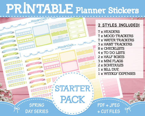 Printable Starter Pack - Spring Day Planner Stickers