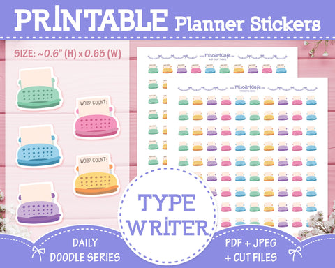 Printable Typewriter Doodles - Hand Drawn Planner Stickers