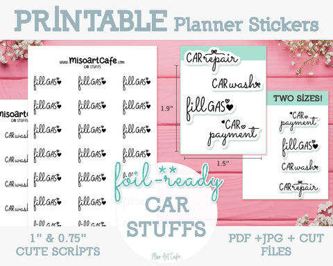 Printable Car Stuffs Foil-Ready Scripts - Typography Planner Stickers