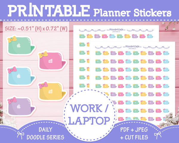 Printable Work / Laptop Doodles - Hand Drawn Planner Stickers