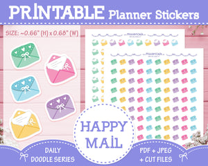 Printable Happy Mail Doodles - Hand Drawn Planner Stickers