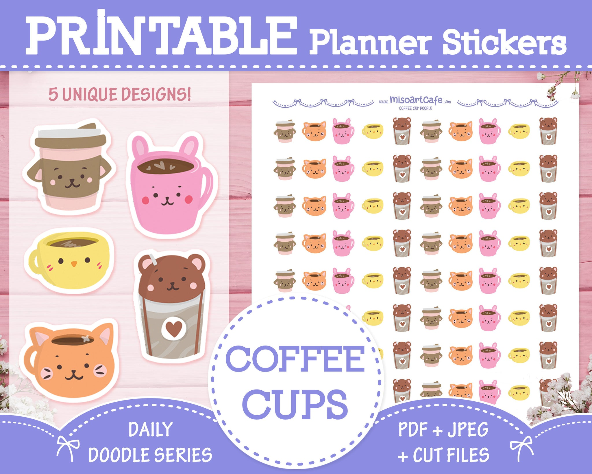 Printable Animal Coffee Cup Doodles - Hand Drawn Planner Stickers