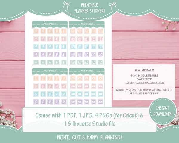 Printable Social Media Icons - Sweet Pastel Planner Stickers