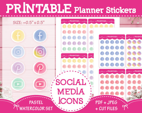 Printable Social Media Icons - Pastel Watercolor Planner Stickers