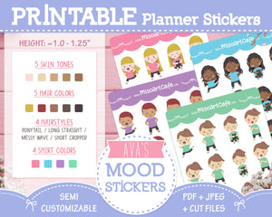 Printable & Customizable Ava's Moods - Character Planner Stickers