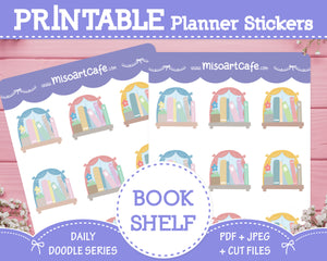 Printable Bookshelf Doodles - Hand Drawn Planner Stickers