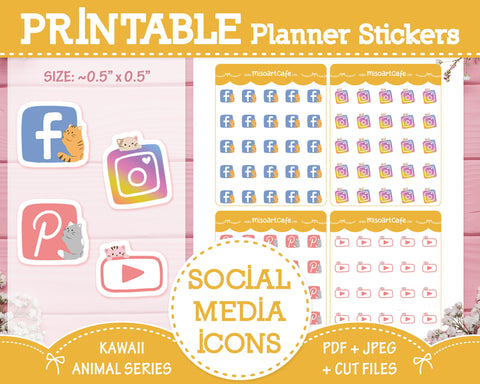 Printable Social Media Icons (Cat) - Kawaii Animal Planner Stickers