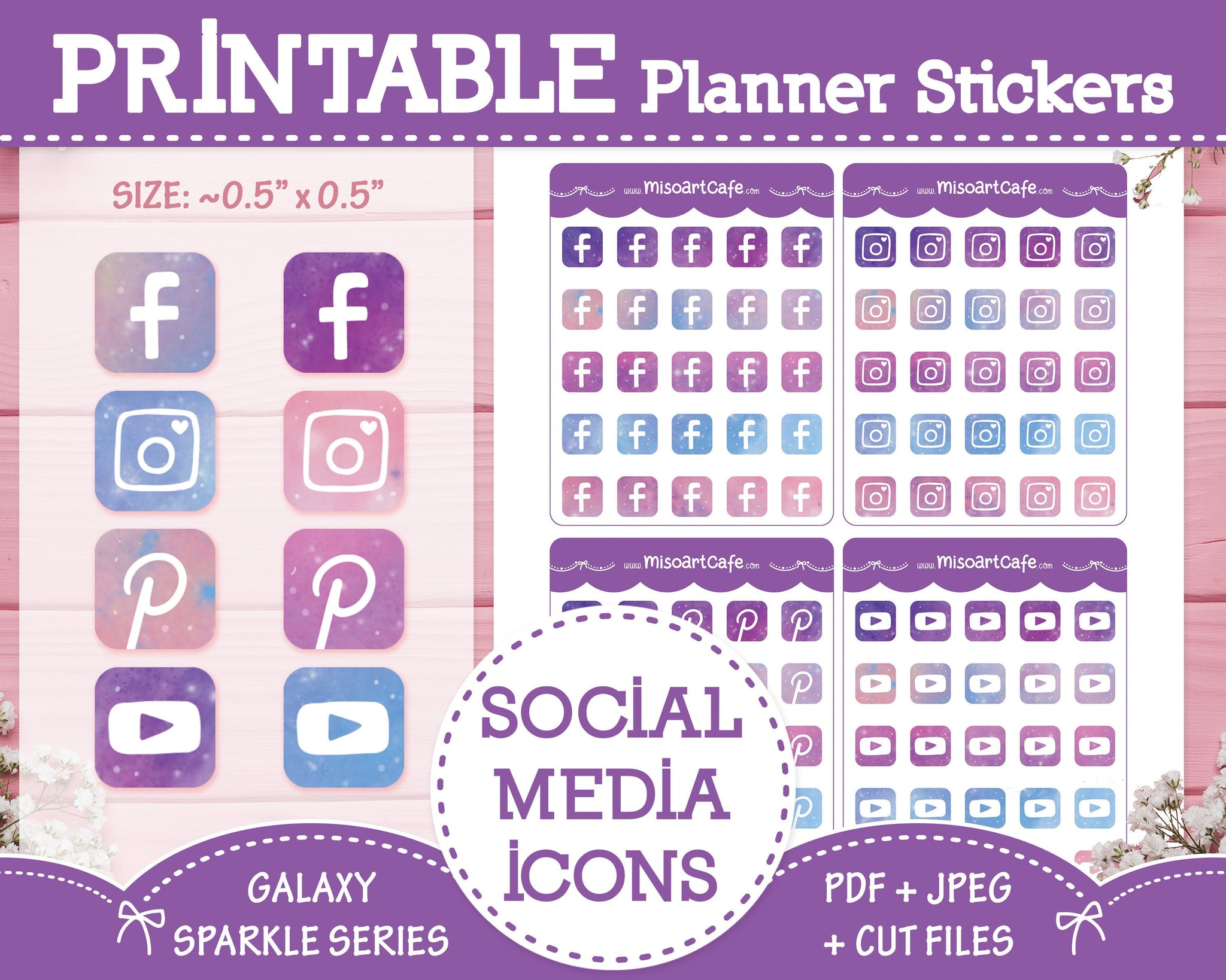 Printable Social Media Icons -Galaxy Sparkle Planner Stickers