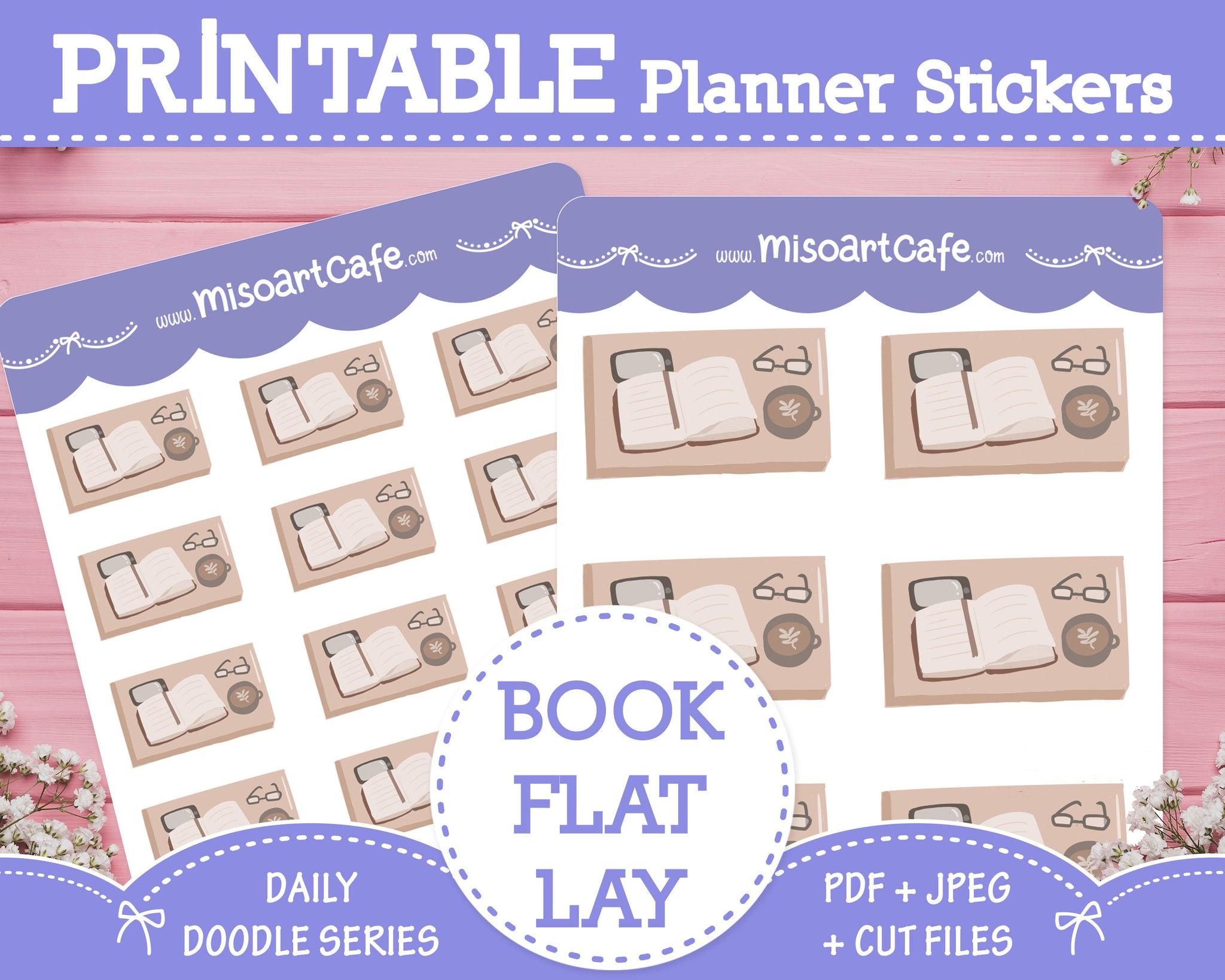 Printable Book Flatlay Doodles - Hand Drawn Planner Stickers