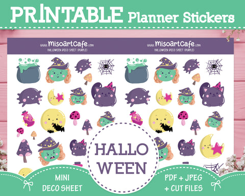 Printable Halloween (Purple) Deco Sheet - Hand Drawn Planner Stickers