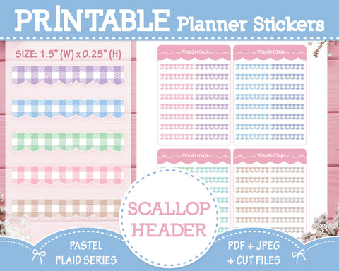 Printable Scallop Headers - Pastel Plaid Planner Stickers
