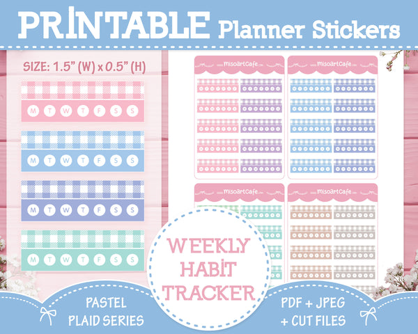Printable Weekly Habit Trackers - Pastel Plaid Planner Stickers