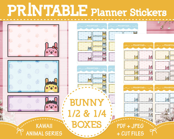 Printable Quarter & Half Functional Boxes (Bunny) - Kawaii Animal Planner Stickers