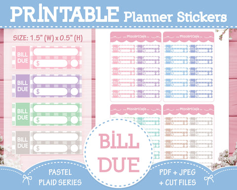 Printable Bill Due - Pastel Plaid Planner Stickers