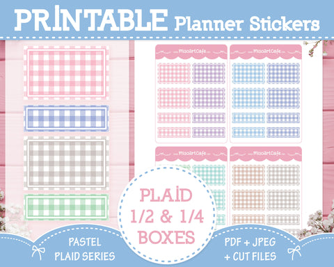 Printable Quarter & Half Functional Boxes - Pastel Plaid Planner Stickers