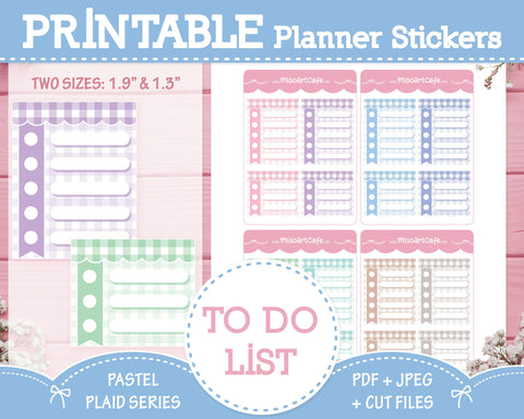 Printable To Do Lists - Pastel Plaid Planner Stickers
