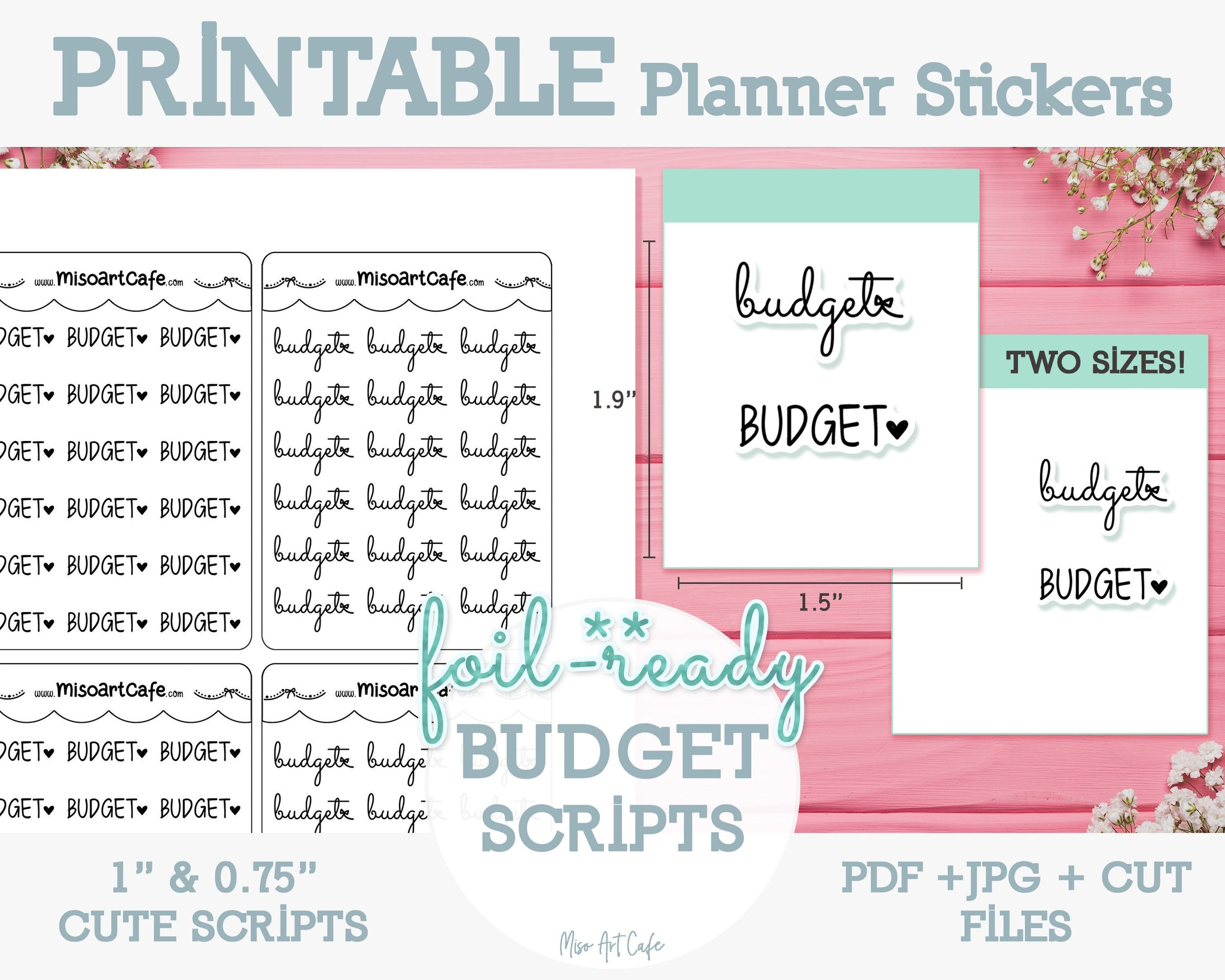Printable Budget Foil-Ready Scripts - Typography Planner Stickers