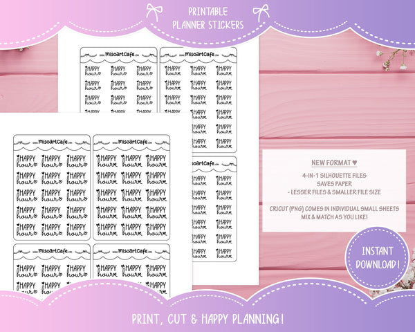 Printable Happy Hour Foil-Ready Scripts - Typography Planner Stickers