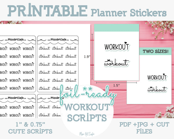 Printable Workout Foil-Ready Scripts - Typography Planner Stickers