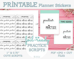 Printable Practice Foil-Ready Scripts - Typography Planner Stickers