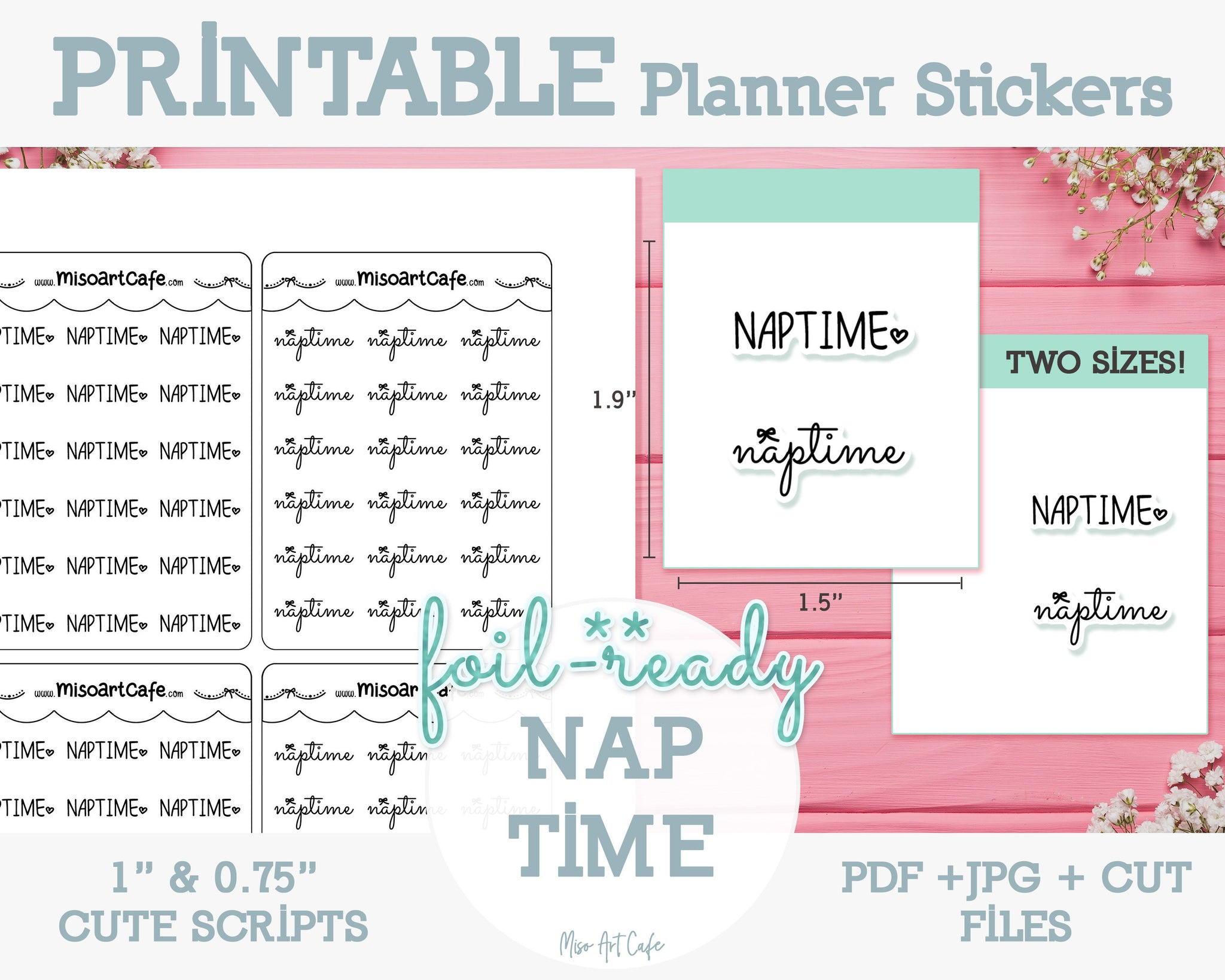 Printable Naptime Foil-Ready Scripts - Typography Planner Stickers