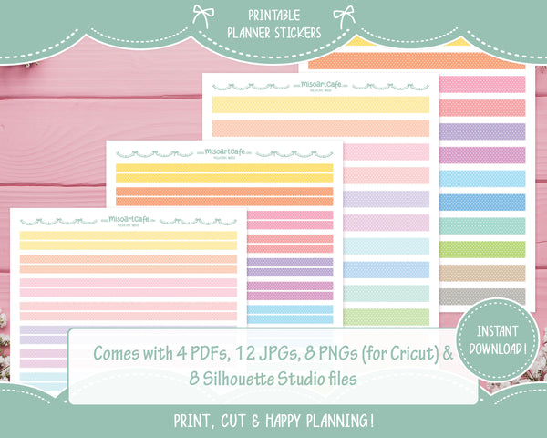 Printable Polka Dot Pattern Washi Tape - Sweet Lace Planner Stickers