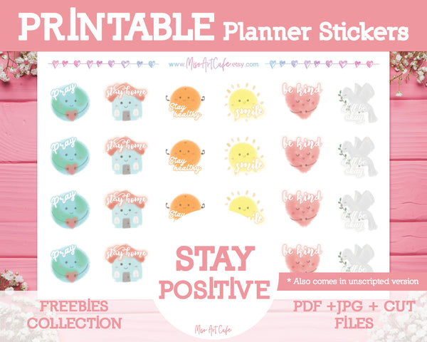 Printable x Freebie - Stay Positive (April Shop Gift) - Miso Art Cafe