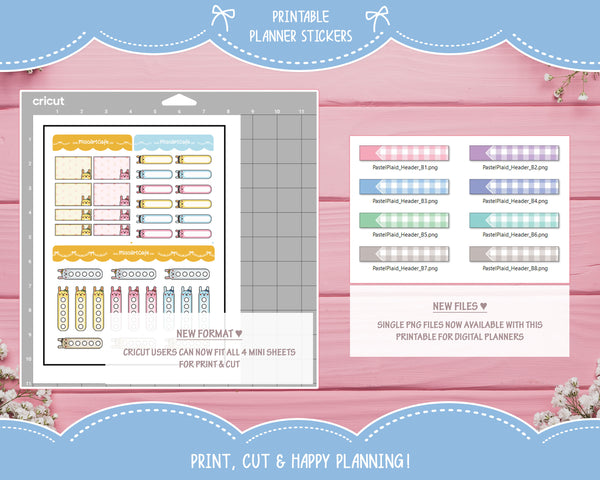Printable Days of the Week - Pastel Plaid Planner Stickers
