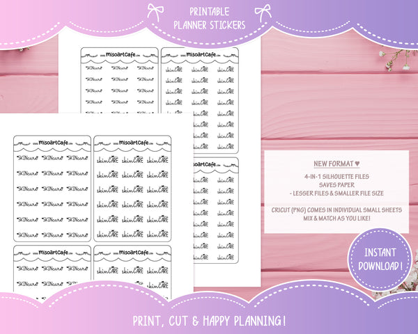 Printable Skin Care Foil-Ready Scripts - Typography Planner Stickers