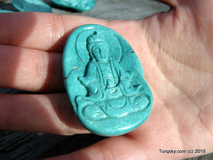 Blue Turquoise GuanYin Pendant 26.8 grams