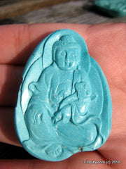 Blue Turquoise GuanYin Pendant 15.6 grams