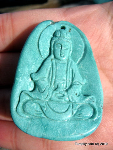 Blue Turquoise GuanYin Pendant 22.5 grams