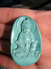 Blue Turquoise GuanYin Pendant 17.0 grams