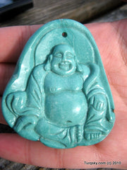 Blue Turquoise Laughing Buddha Pendant 31.6 grams