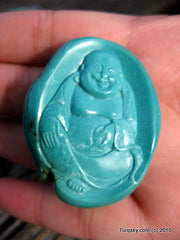 Blue Turquoise Laughing Buddha Pendant 22.7 grams