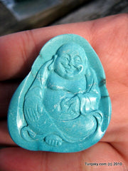 Blue Turquoise Laughing Buddha Pendant 16.2 grams