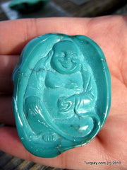 Blue Turquoise Laughing Buddha Pendant 23.8 grams