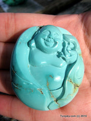 Blue Turquoise Laughing Buddha Pendant 40.1 grams