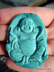 Blue Turquoise Laughing Buddha Pendant 18.7 grams