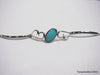 Natural turquoise silver bracelet 9.4 inches