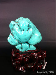 Natural blue turquoise stone with redwood stand 190.6 grams
