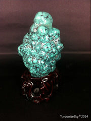 Natural blue turquoise stone with redwood stand 223.4 grams