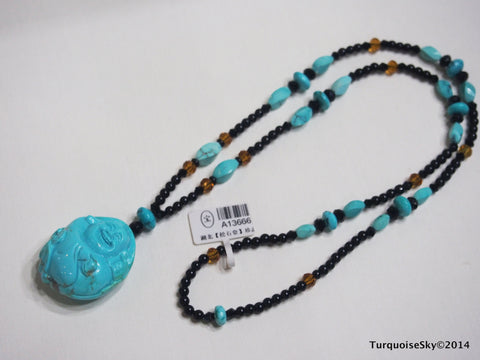 Natural turquoise necklace 26 inches