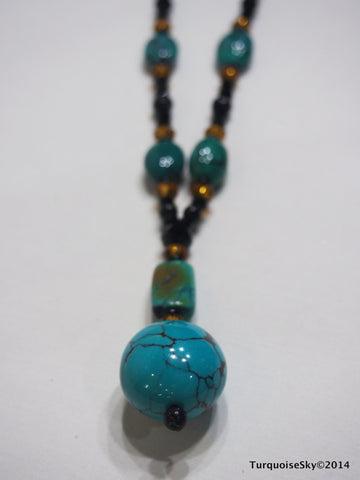 Natural turquoise necklace 31 inches