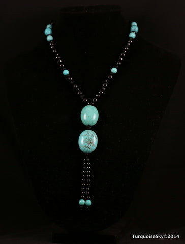 Natural turquoise necklace 28 inches